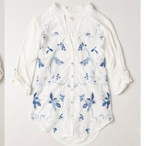 Anthropologie Tiny Embroidered Sheer Willa Top M